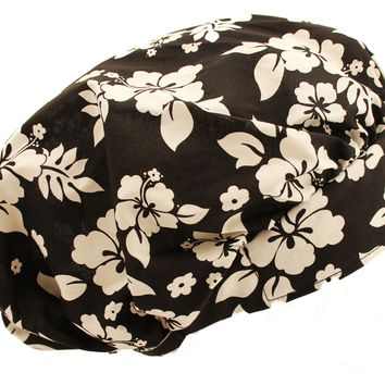 Tropical Black & White Bouffant Surgical Scrub Cap Hat