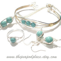 The Turquoise collection - peas in a pod jewelry set - hand made wire wrapped jewelry - herringbone - Mom gift
