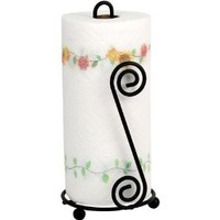 Huji Durable Black Steel Scroll Paper Towel Holder (1)