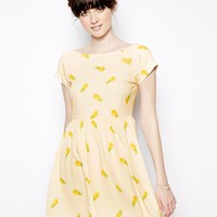 Nishe Pineapple Print Skater Dress