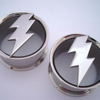 Steel Lightning Bolt Plugs (2 gauge - 1 inch)