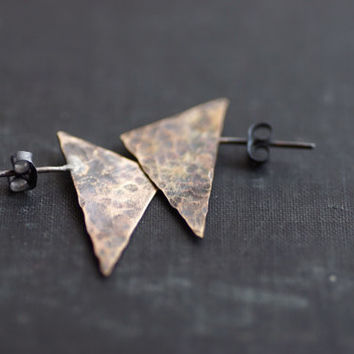 Brass Triangle Post Earrings - Oxidized and Hammered