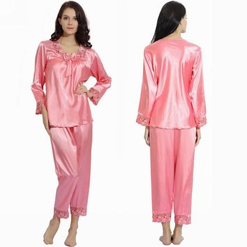 Womens Girls  Silk Satin Pajamas Pajama Pyjamas Set  Sleepwear Loungewear Set  XS,S,M,L,XL,2XL Plus