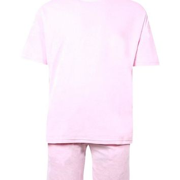 Drop Armhole Velour Tee & Short Set | Boohoo