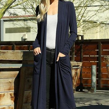Temperatures Dropping Long Navy Blue Cardigan Duster