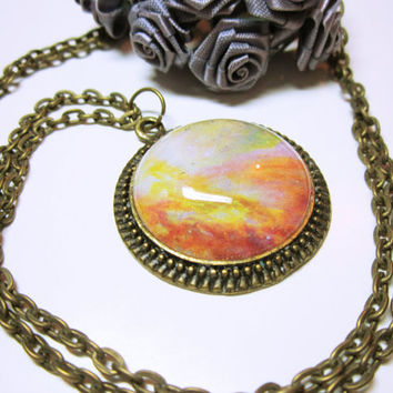 NECKLACE JEWELRY Abstract Art Pendant Beautiful Sunset Hues Round Antique Gold Abstract Art Pendant With Matching Chain Gift Idea For Her