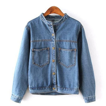 Blue Denim Slouchy Loose Fit Drop-Shoulder Jacket for Women