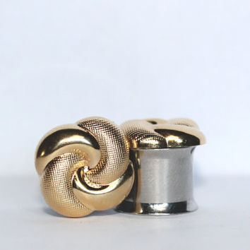"Simple Gold Knot Formal Plugs 0G 00G 7/16""  8mm 10mm 11mm"