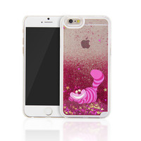 New 2015 Glitter Star Liquid Alice in Wonderland Cheshire Cat Back Cover Case for iphone 4/4s/5/5s/5c/6/6plus/6s/6s plus