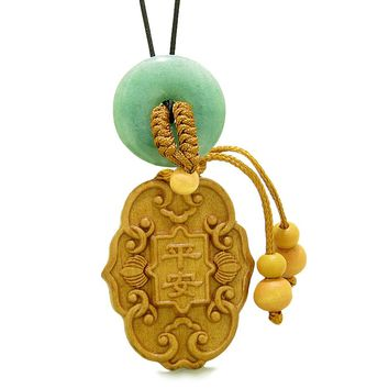 Feng Shui Lucky Symbols Car Charm or Home Decor Green Quartz Donut Protection Powers Magic Amulet