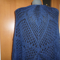 RESERVED FOR JO - large knit shawl Mohair knitted wrap Navy blue shawl Shoulder wrap Hand knitted stole Unique air shawl Knit lace cape dark