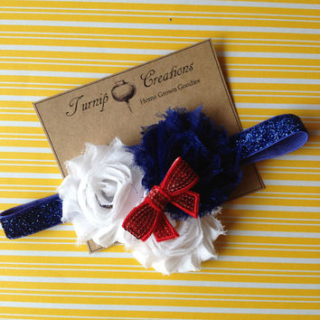 4th of July Red, White and Blue Shabby Flowers on Blue Glitter Headband with Sequin Bow Shabby Chic