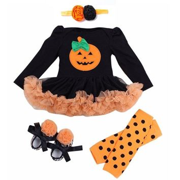 Hot sale Halloween Baby Costumes Baby Girls Boys Rompers Newborn Halloween Pumpkin Jumpsuits Dress Cartoon Printed Baby Rompers