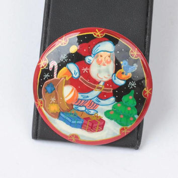 Russian Hand Made Santa Claus Brooch Wooden Christmas Pin Vintage
