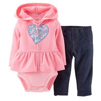 Carter's Heart Flower Peplum Hooded Cardigan Set - Baby
