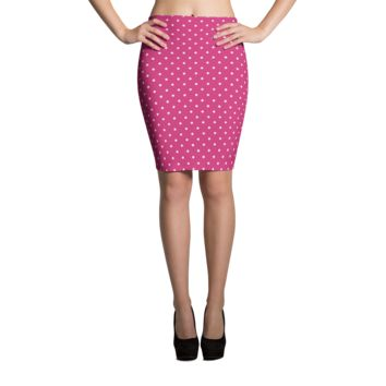 Pink Polka Dot Pencil Skirt