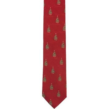 Roundtree & Yorke Foulard Narrow Silk Christmas Tie - Red
