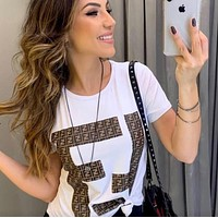 Fendi 2019 new solid color fashion round neck short sleeve loose T-shirt white