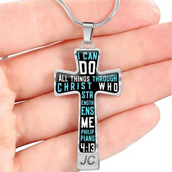 Philippians 4:13 I Can Do All Things Through Christ Who Strengthens Me Cross Necklace