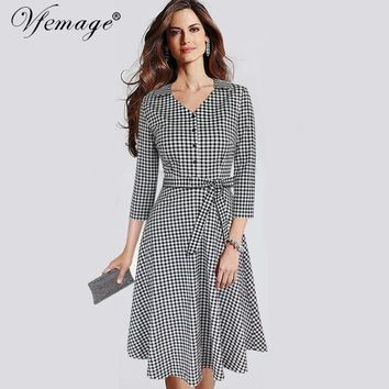 Vfemage Women Elegant Vintage 3/4 Sleeve Autumn Winter Tartan Print Bow Button Casual Work Office Party Skater A-line Dress 8007