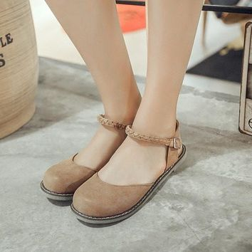 New Fashion Women Buckle Strap Mary Jane Flat Shoes Casual Round Toe Sweet Slingback Ballet Flat Ankle Strap Larger Size