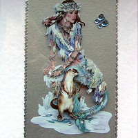 Mermaid Hand-Crafted 3D Decoupage Card - With Love (1681)