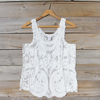 Summer Snow Lace Tank in White
