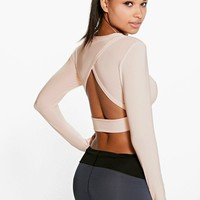 Ebony Dance Slinky Long Sleeve Wrap Back Top
