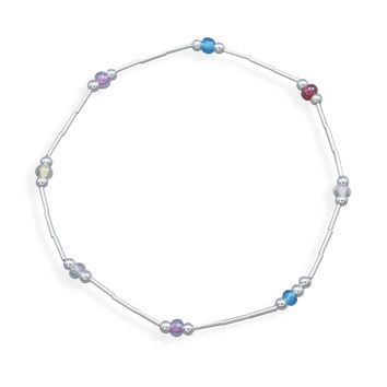 """9"""" Liquid Silver Anklet with Glass Beads"""