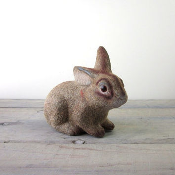 Vintage Flocked Bunny Rabbit Bank