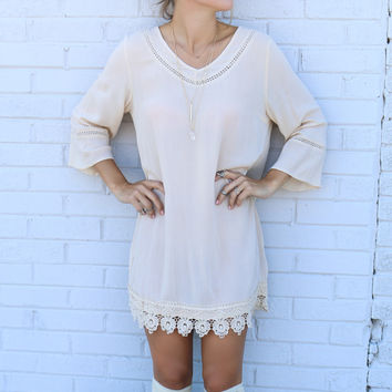 The Vienna Cream Bell Sleeve Shift Dress With Cutout Details & Crochet Lace Hem