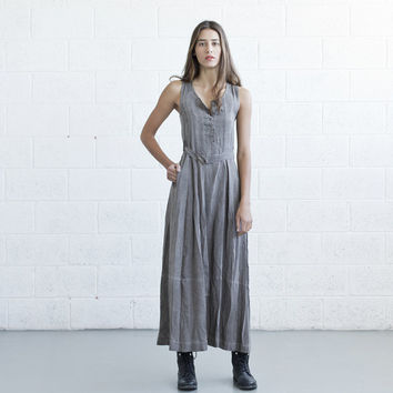 Maxi Dress , washed flax seed color .