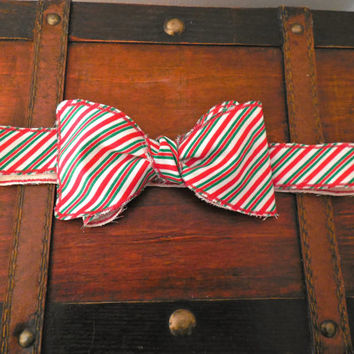 Red, Green, and White Striped Christmas Rustic/Rough Edged Bow Tie. Multiple Sizes Available