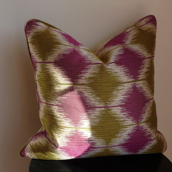 Olive Green & Purple Pillow / Red / Ivory / Natural Pillow Cover with Piping