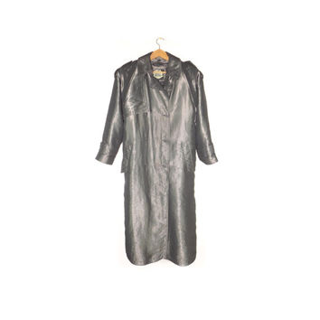 80s silver metallic trench coat / vintage 1980s / iridescent / reflective
