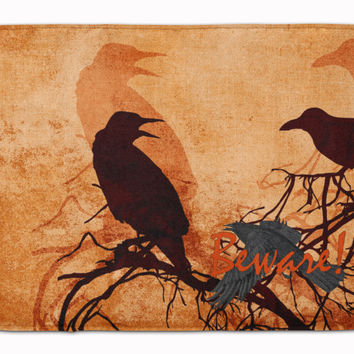 Beware of the Black Crows Halloween Machine Washable Memory Foam Mat SB3009RUG