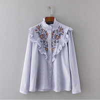 Stylish Blue White Striped Print Flower Embroidery Shirt  Ruffled Collar Long sleeve Ruffles Mid long Blouse Tops femme blusa
