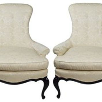 Hollywood Regency Wingback Chairs, Pair