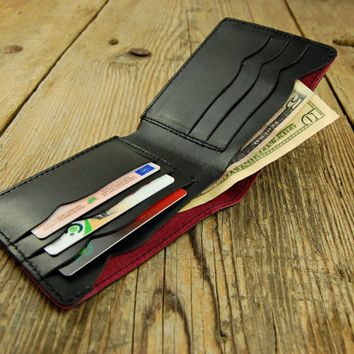 Red Star Men's Wallet Credit Card Wallet Leather Wallet Bifold Wallet