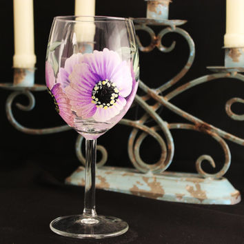 Stemware, Hand Painted Floral Wine Glass, Bridesmaid Birthday Gift, Free Personalization