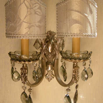 Vintage Italian Sivered Bronze 2 Arm Smokey Crystal Wall Sconce with Rubelli Pure Silk Clip On Lamp Shades - Handmade in Italy