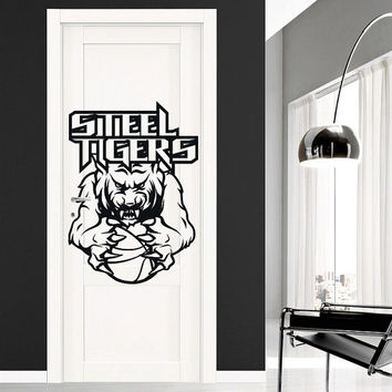 I162 Wall Decal Vinyl Sticker Art Decor Design wolf tiger clutches basketball field goal football game sport team victory