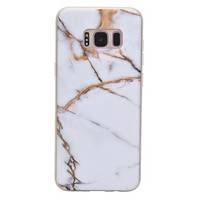 White & Gold Marble Samsung Case