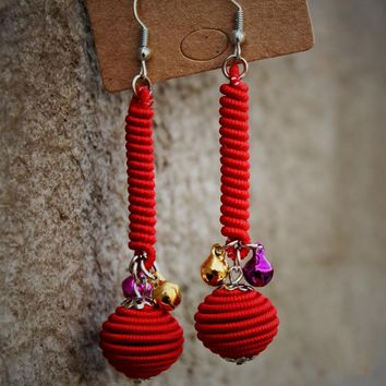 wing yuk tak Fashion Ethnic Vintage Handwork Statement Earrings 5 Color Cotton Ball Drop Pom Pom Earrings For Women Jewelry