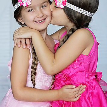 Twin Sister Headbands, Pink Twin Headbands, Twin Girl Headbands, Pink Princess Headbands, Pink Gold Headbands, Baby Shower Gift, Photo Prop