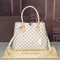LV Women Shopping Leather Tote Handbag Shoulder Bag White tartan