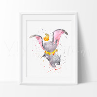 Dumbo the Elephant Watercolor Art Print