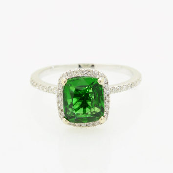 2.03 carats natural untreated chrome Tourmaline, 14K white gold diamonds halo engagement ring with JOAN-900G