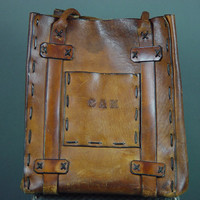 HuGE Leather Bag Tote Handmade Laced Monogrammed Rugged Primitive Carry All