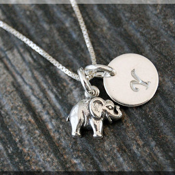 Sterling Silver Tiny Elephant Necklace, Lucky Elephant Pendant, Personalized Lucky Charm Necklace, Initial Charm Lucky Elephant Necklace